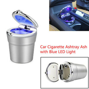 High Quality Stainless Car Cigarette Ashtray Ash W blue Led Light For Cup Holder