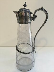 Antique Art Nouveau Glass With Silverplate Carafe Claret Jug Pitcher 12 Tall