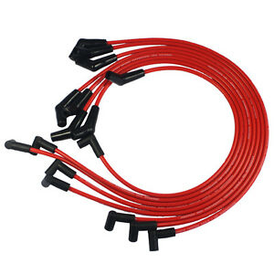 New Red Spiral Core Spark Plug Wires 45 Degree End For Bbc Chevy 396 427 454 502