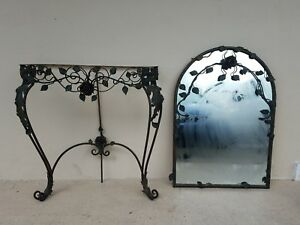 1920 S French Wrought Iron Console And Mirror W Flowers And Leaves