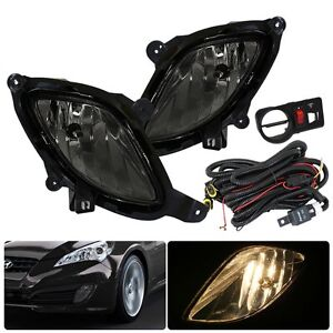 Fit 2010 2012 Hyundai Genesis Coupe Kdm Front Bumper Driving Fog Lights Smoked