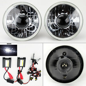 7 Round 6000k Hid Xenon H4 Clear Projector Glass Headlight Conversion Pair