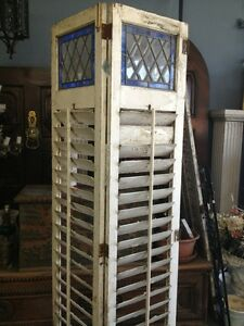 Wooden Shutters Old Vintage Antique With Leaded Stained Glass