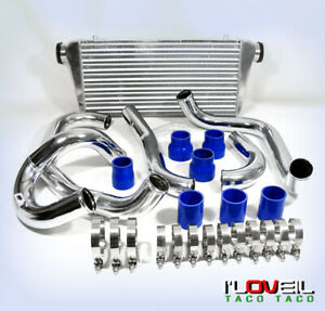 Turbo Intercooler Polish Piping Kit Blue Coupler For 02 07 Impreza Wrx Sti Gc8