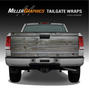 Grey Distressed Wood Barnwood Planks Truck Tailgate Vinyl Graphic Decal Wraps
