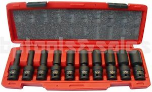 10pc 1 2 Drive Universal Swivel Deep Impact Socket Set Sae Pro Radius Set