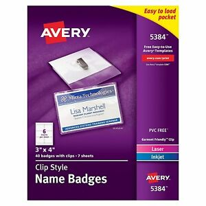 Avery Top loading Garment friendly Clip Style Name Badges 3 X 4 Box Of 40