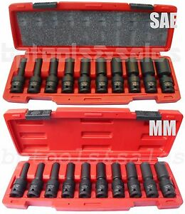 20pcs 1 2 Drive Universal Swivel Deep Impact Socket Sets Metric Sae Pro Radius