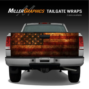American Flag Distressed Rust Truck Tailgate Vinyl Graphic Decal Wraps