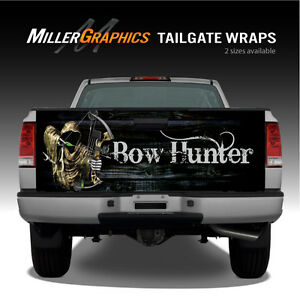 Bow Hunter Grim Reaper Black Wood Truck Tailgate Graphic Decal Wrap