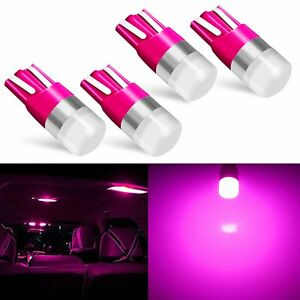 4x Pink T10 168 194 Rv Trailer 3030 Smd 12v Interior License Plate Map Led Bulbs