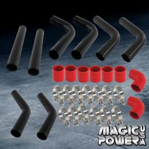Black 3 Turbo Fmic Intercooler Piping Kit W Red Silicone Couplers Universal