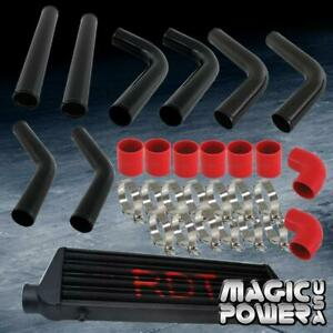 2 5 Universal 8pc Black Aluminum Piping Kit Red Coupler Intercooler Black