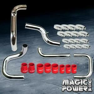 Chrome Intercooler Piping Red Couplers Ssqv Bov Flange Kit For 1992 1995 Civic