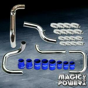 Chrome Intercooler Piping Blue Couplers Ssqv Bov Flange Kit For 1996 2000 Civic