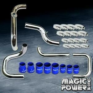 Chrome Intercooler Piping Blue Couplers S Rs Bov Flange Kit For 1996 2000 Civic