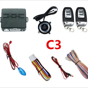 Car Alarm System Security Led Audible Alarm Ignition Engine Start Button Remote