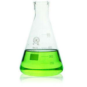 500ml glass Erlenmeyer Flask laboratory Chemistry Conical Bottle W narrow Mouth