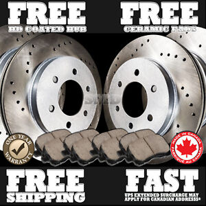 P0336 Fit 2003 2004 Ford Expedition Cross Drilled Brake Rotors Ceramic Pads F r