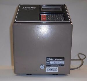 Amano Time Clock Punch Card Machine With Time cards And Card Rack