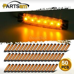 50pcs Amber 4 in 6led Side Marker Indicators Light Truck Trailer Boat Clearance