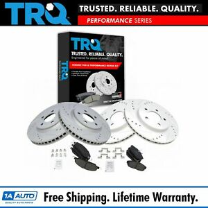 Trq Front Rear Ceramic Brake Pad Performance Drilled Slotted Rotor Kit