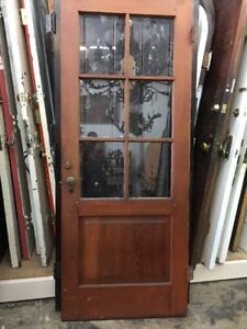 Back Door Old Antique Vintage With Glass 79 X32