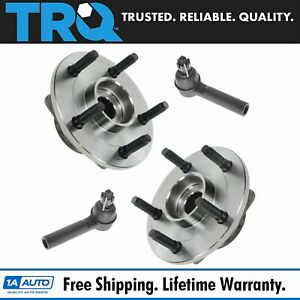 Front Wheel Hub Bearing Assemblies Outer Tie Rod End Steering Suspension Kit 4pc