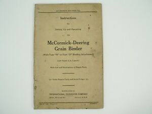 Grain Binder Type M d Owners Manual Illustrated Part List Mccormick Dee