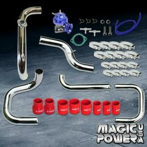 Chrome Intercooler Piping Blue Rs Bov Red Couplers Kit For 1996 2000 Civic