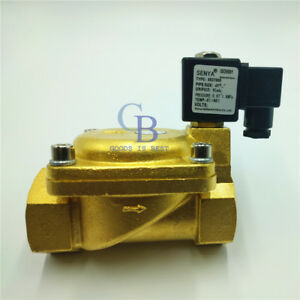 Ac220v G1 1 2 Brass Electric Solenoid Valve 232 Psi Normally Closed Air Water