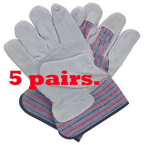 Hardy Split Leather Work Gloves Cotton Back 5 Pairs Onstruction Agriculture