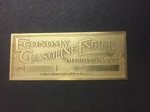 New Economy Etched Brass Tag Antique Gas Engine Hit Miss