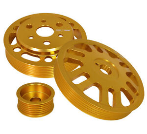 3Pc Motor Pulley Kit Set -Crank +Alternator+Water Gold For Scion FrsSubaru Brz $78.99