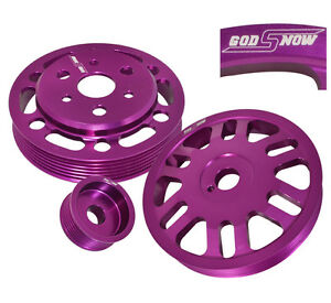 3PC MOTOR PULLEY KIT SET CRANK+ALTERNATOR +WATER PURPLE SCION FOR FRSSUBARU BRZ $78.99
