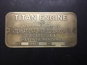 New Ihc Titan Etched Brass Tag Antique Gas Engine Hit Miss