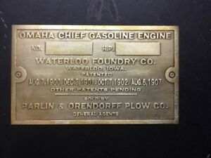 New Omaha Chief Waterloo Etched Brass Tag Antique Gas Engine Hit Miss