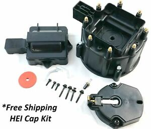 Gm Hei Distributor Black Cap Rotor Set Sbc Bbc 50k Or 65k Volt Chevy New Kit