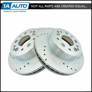 Nakamoto Rear Performance Cross Drilled Slotted Zinc Coated Brake Rotor Pair New