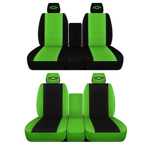 Fits 2007 To 2014 Chevrolet Silverado 40 20 40 Black And Lime Green Seat Covers