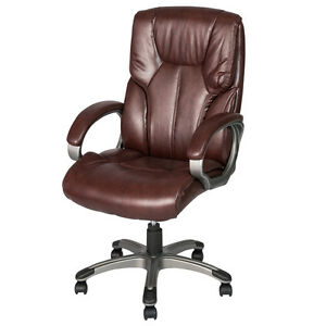 Pu Leather Ergonomic Office Chair High Back Support Computer Desk Chair Brown