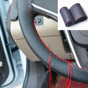 38cm 15 Car Diy Leather Steering Wheel Cover Protect Car Needles And Red Thread