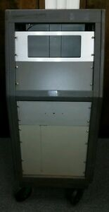 Bud Industries Series 60 Inclined Panel Steel Cabinet With Rear Door On Wheels