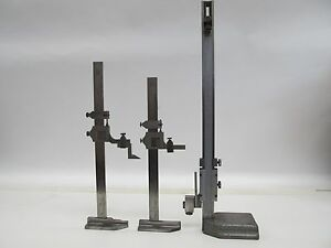Lot Of 3 12 Vernier Height Gages Starrett 454 Brown Sharpe 585 Yuasa