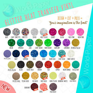 Glitter Heat Transfer Vinyl 15 Sheet 20 X 12 Select Your Colors