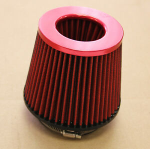 4 Inch 4 Inlet High Flow Short Ram Cold Intake Round Cone Air Filter Red