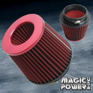 4 Universal Red Inlet Short Ram Cold Intake Round Cone Air Filter Red Kn Type