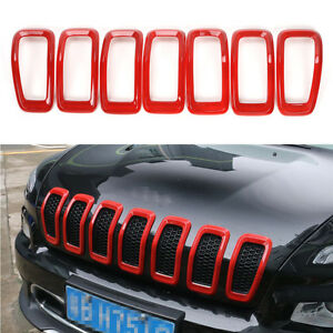 Fit 2014 2017 Jeep Cherokee Front Grille Inserts Mesh Grill Trim Accessories Red