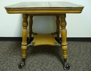 Antique Quarter Sawn Oak Glass Ball Brass Claw Parlor Table By Louis F Nonnas