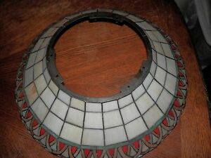 Vintage Leaded Stained Glass Chandelier Shade Ceiling Light Fixture
